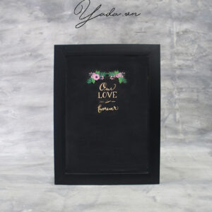 Black Rectangle – Black Frame – Multiple Color Hearts – Drop Top Guest Book