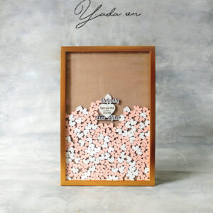 Wood Rectangle-Gold frame- Orange+White hearts-Drop Top Guest book