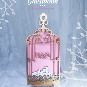 Pink Birdcage Gold frame- Drop Top Guest book