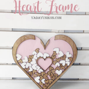 Pink Heart -Wood frame- Drop Top Guest book