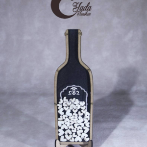 Black bottle-White hearts – Drop Top Guest book