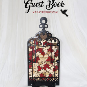 Wood Birdcage-Black frame-Red+Gold hearts – Drop Top Guest book