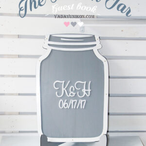 Gray Mason Jar-Pink hearts- Drop Top Guest book