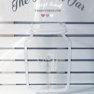 Clear Mason Jar-Pink hearts- Drop Top Guest book