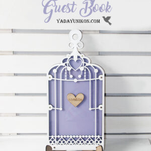 Purple Birdcage-White frame-Wood+White+Pink+Purple hearts – Drop Top Guest book