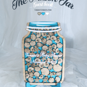 Seashells Mason Jar-Ocean background-Drop Top Guest book