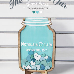 Sea glass Mason Jar-Multiple blue hearts- Drop Top Guest book