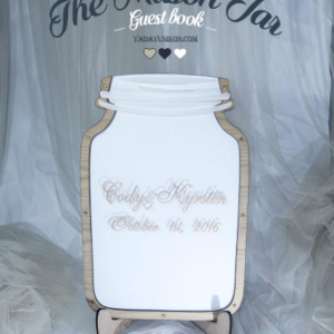 White Mason Jar-Wood hearts- Drop Top Guest book