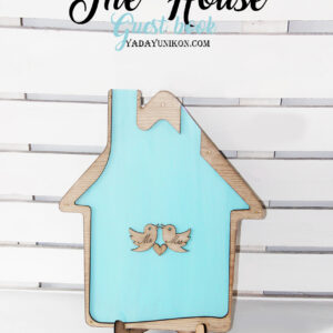 Sea glass House-Wood+white hearts- Drop Top Guest book