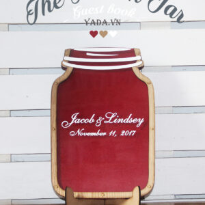 Red Mason Jar-Wood hearts- Drop Top Guest book