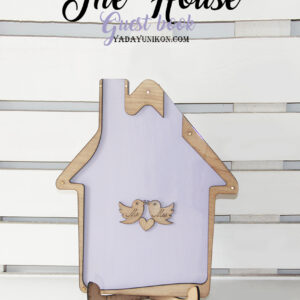 Light Purple House-Light purple+pink+white hearts- Drop Top Guest book