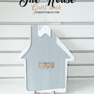 Gray House-White+pink hearts- Drop Top Guest book