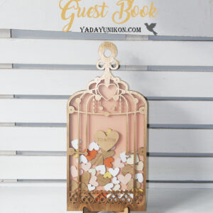 Light Peach Birdcage-Gold frame-Gold+Orange+White hearts – Drop Top Guest book