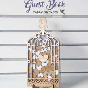 Purple Birdcage-Gold frame-Gold+White hearts – Drop Top Guest book