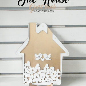 Gold House-White hearts&frame- Drop Top Guest book