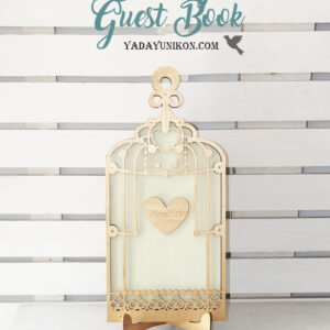 Cream Birdcage-Gold frame-Mint+White hearts – Drop Top Guest book