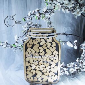 Black Mason Jar-Wood hearts- Drop Top Guest book