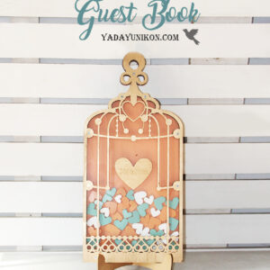 Peach Birdcage-Gold frame-Mint+Orange+White hearts – Drop Top Guest book