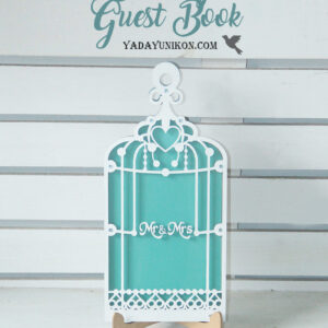 Mint Birdcage-White frame-Mint+Orange+White hearts – Drop Top Guest book