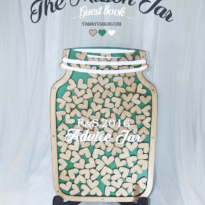 Emerald Mason Jar-Wood hearts- Drop Top Guest book