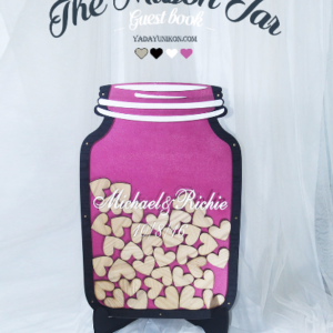 Fuschia Mason Jar-Wood hearts- Drop Top Guest book
