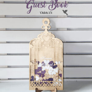 Gold Birdcage- Purple+White+Wood Hearts – Drop Top Guest book
