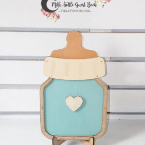 Mint milk bottle- Drop Top Guest book