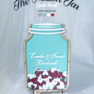Sea glass Mason Jar-Wood frame-Red+white hearts- Drop Top Guest book