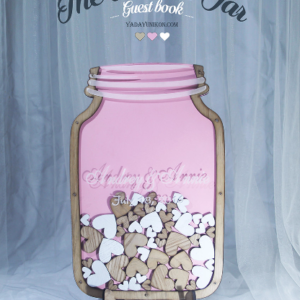 Pink Mason Jar-Wood frame-Wood+white hearts- Drop Top Guest book