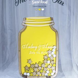Yellow Mason Jar-Yellow stars-Wood+white circle- Drop Top Guest book