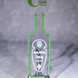 Clear bottle-Green hearts – Drop Top Guest book