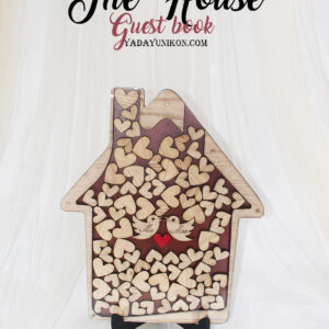 Brown House-Wood hearts- Drop Top Guest book