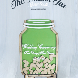Green Mason Jar-Wood hearts- Drop Top Guest book