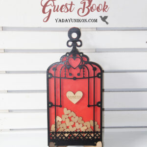 Orange Birdcage-Black frame-Gold hearts – Drop Top Guest book