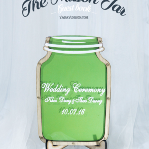 Green Mason Jar-Wood hearts- Drop Top Guest book