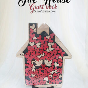 Black House-Red+Wood hearts- Drop Top Guest book