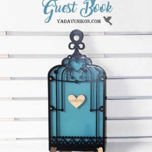 Peacock Birdcage-Black frame-Red hearts – Drop Top Guest book