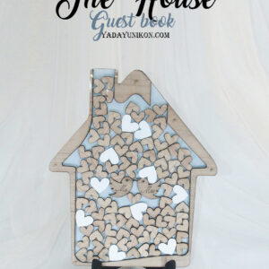 Serenity blue House-White+Wood hearts- Drop Top Guest book