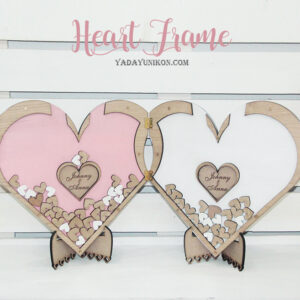 Double Hearts -Pink&White- Drop Top Guest book