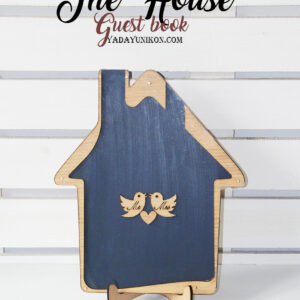 Navy House-Wood+white hearts- Drop Top Guest book