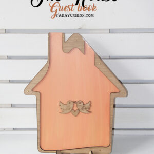 Light Orange House-Gold+white hearts- Drop Top Guest book