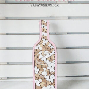 Pink bottle-Wood+White hearts – Drop Top Guest book