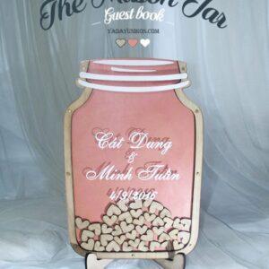 Peach Mason Jar-Wood hearts- Drop Top Guest book