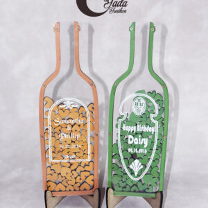 Clear bottle-Orange hearts – Drop Top Guest book