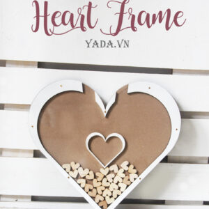 Wood Heart -WhiteFrame- Drop Top Guest book