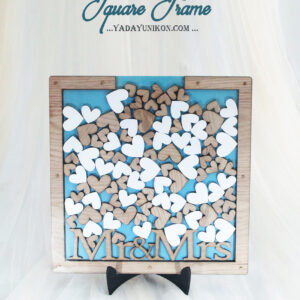 Ocean Square-Wood frame-Wood & White hearts-Drop Top Guest book