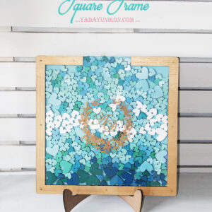 Blue Square-Gold frame-Multiple blue hearts-Drop Top Guest book