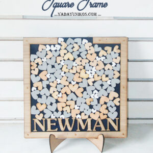 Navy Square-Wood frame-Wood+gray+white hearts-Drop Top Guest book