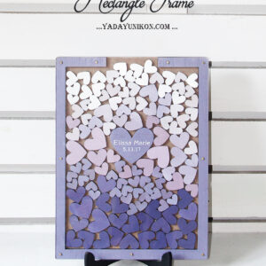 Wood Rectangle-Purple frame-Multiple purple hearts-Drop Top Guest book