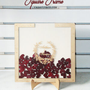 Cream Square-Gold frame-Red hearts-Drop Top Guest book